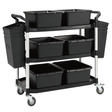 Service Trolley with Side and Centre Buckets Astrolift